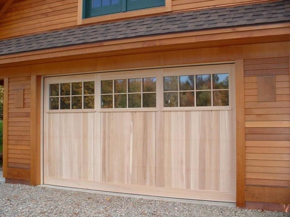 Exterior Design Exciting Light Wooden Garage Doors With Windows