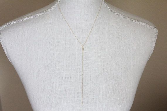 CZ Simple Lariat Necklace // Gold or Silver by TheAlteredChain, $30.00