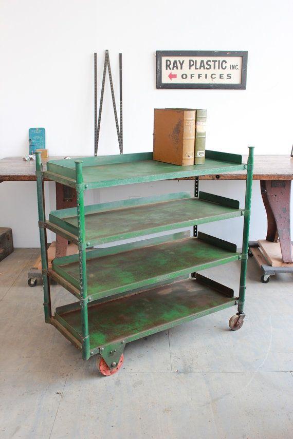 Vintage Industrial Uhl Toledo Rolling Shelf/ Cart/ Storage - 1940s