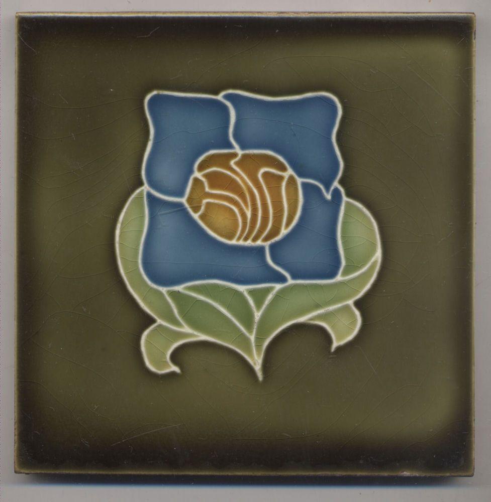 Super Rare Wessel Blume Jugendstil Fliese Art Nouveau Tile Old - Wessel keramik fliesen