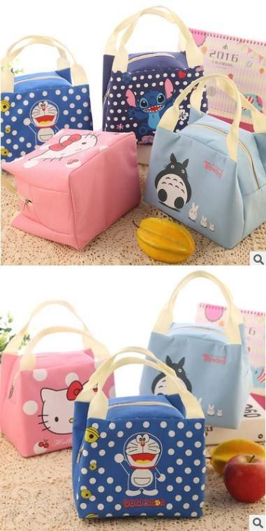 Visit to Buy  2017 New Portable Cartoon Cute Hello Kitty Lunch Bag Carry  Case 40354d9649cd1