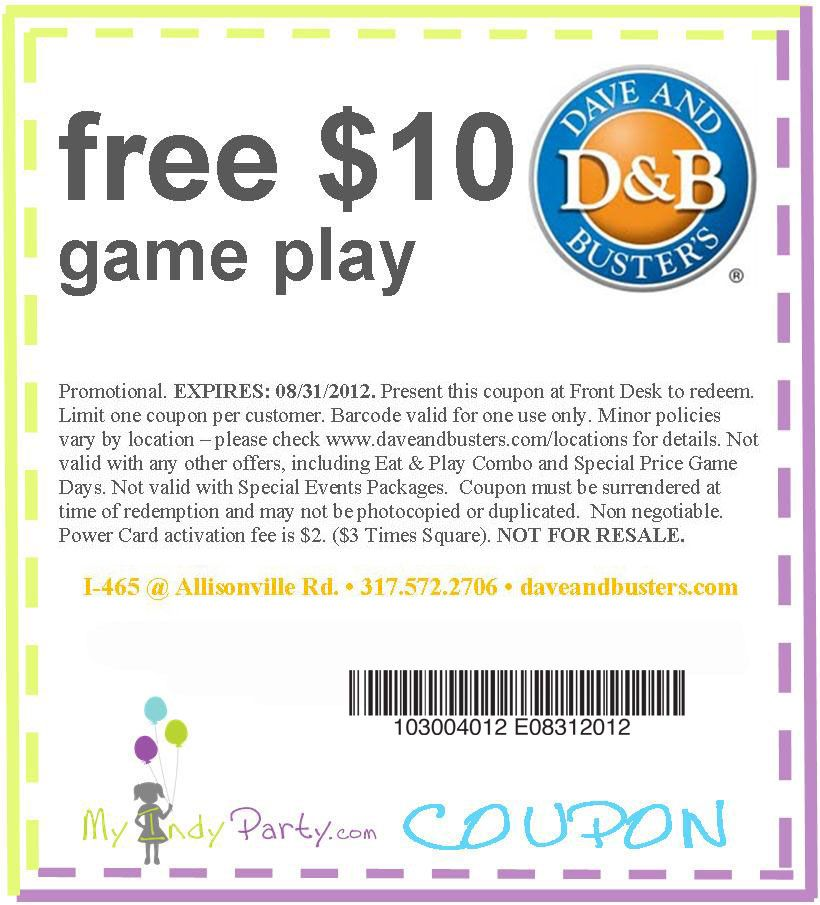 Awesome Dave Buster's Coupon..