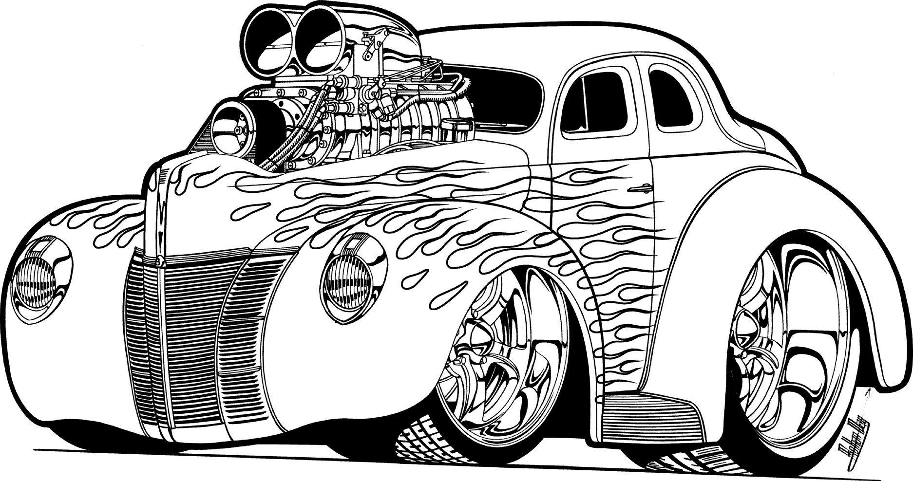 cool muscle cartoon cars  download hot rod coloring pages