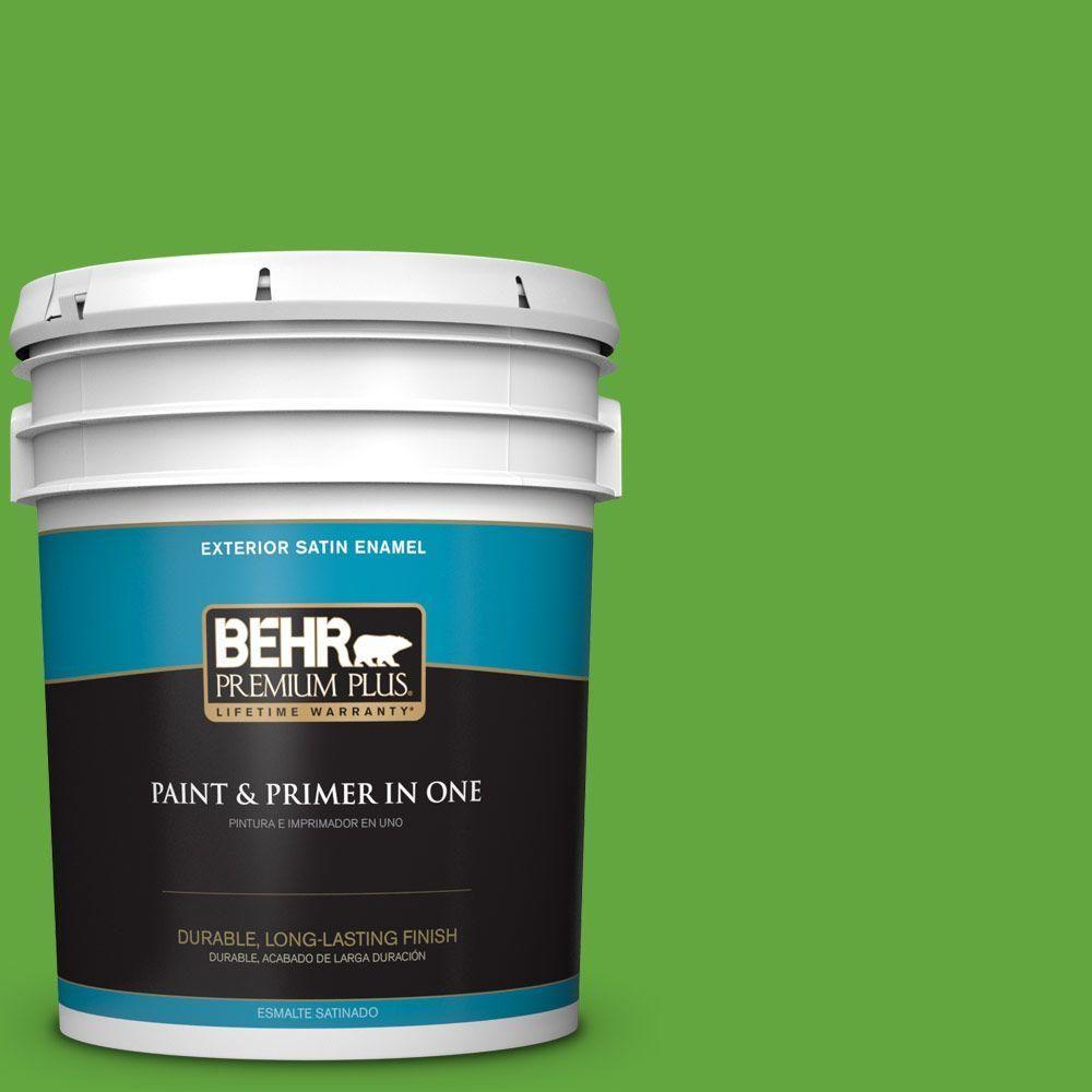 BEHR Premium Plus 5-gal. #430B-6 Caterpillar Satin Enamel Exterior Paint