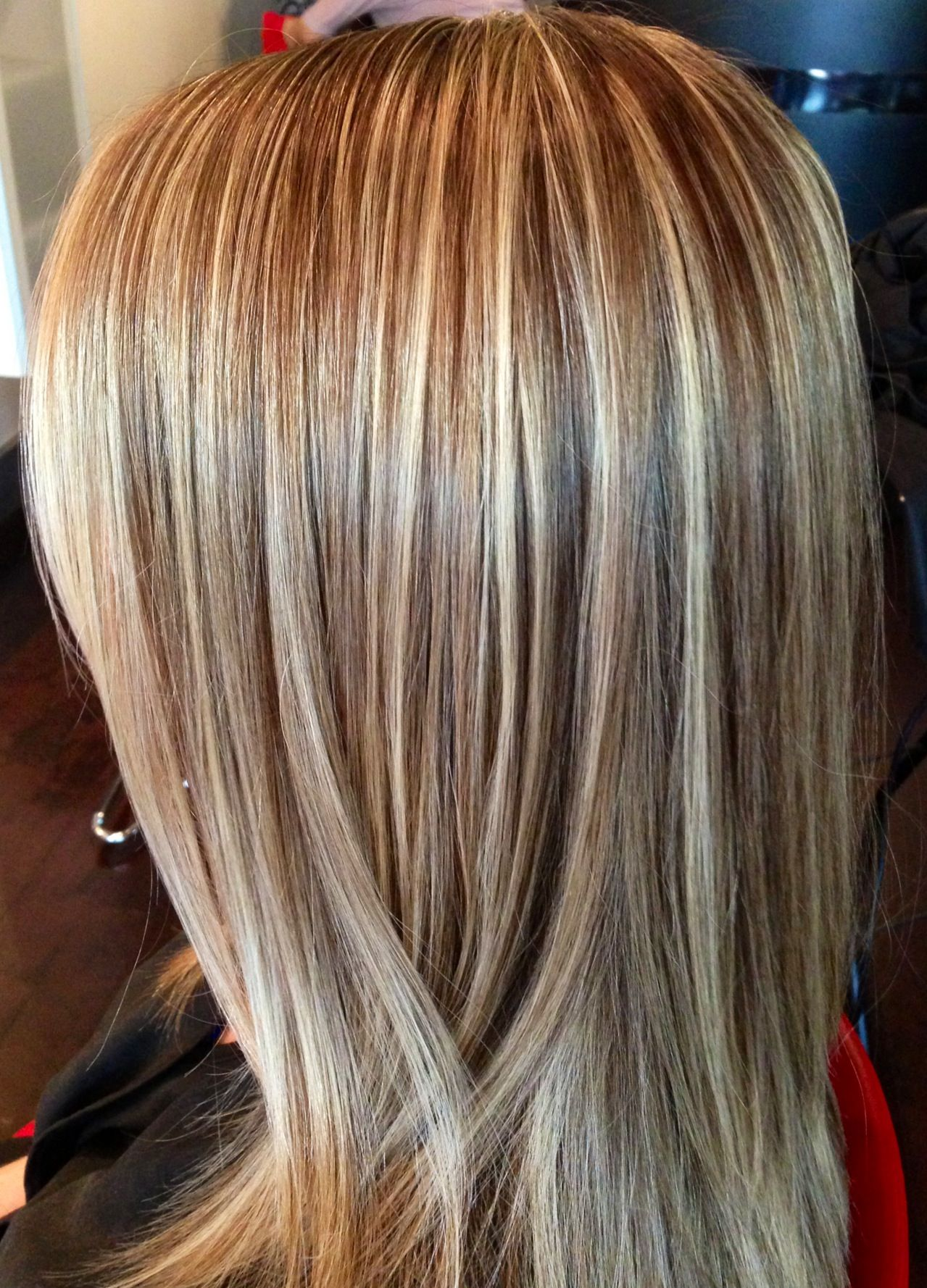 This Beautiful Hair Color Was Created By Foiling The Top Of Head In