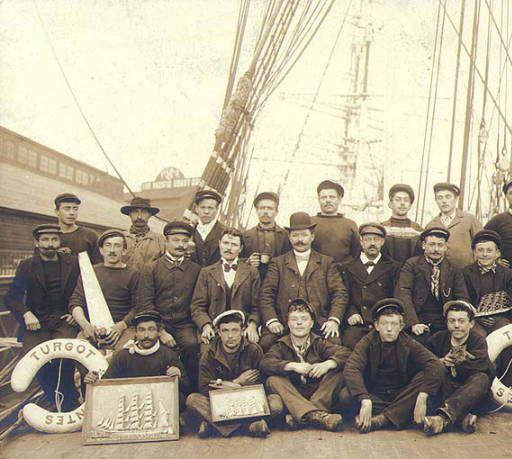 Capt. Cezard and the crew of the three-masted French bark TURGOT fom Nantes taken on deck, Seattle, Washington, 1903. :: Wilhelm Hester Photographs