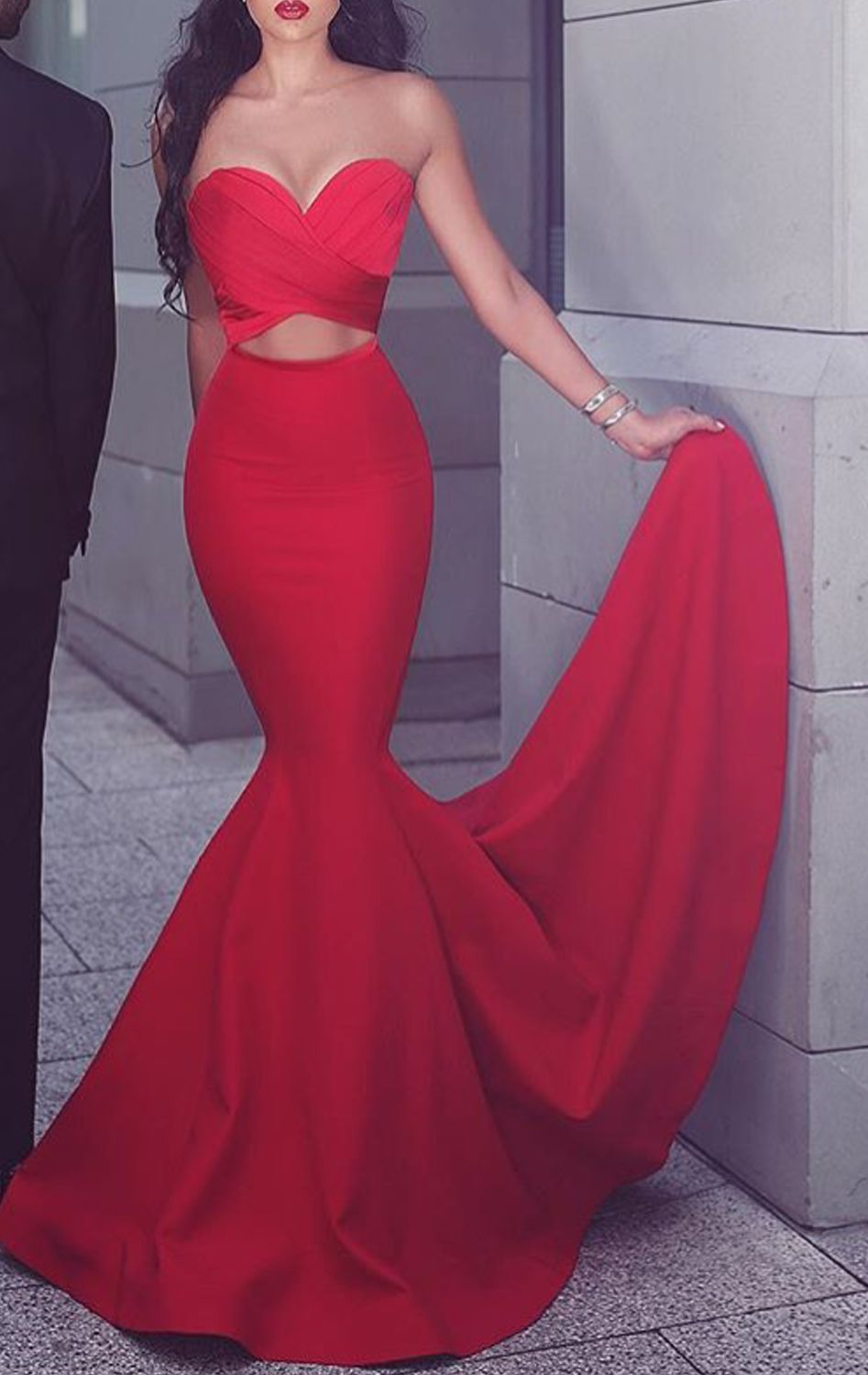 Mermaid strapless satin long prom dress red formal gown cut out