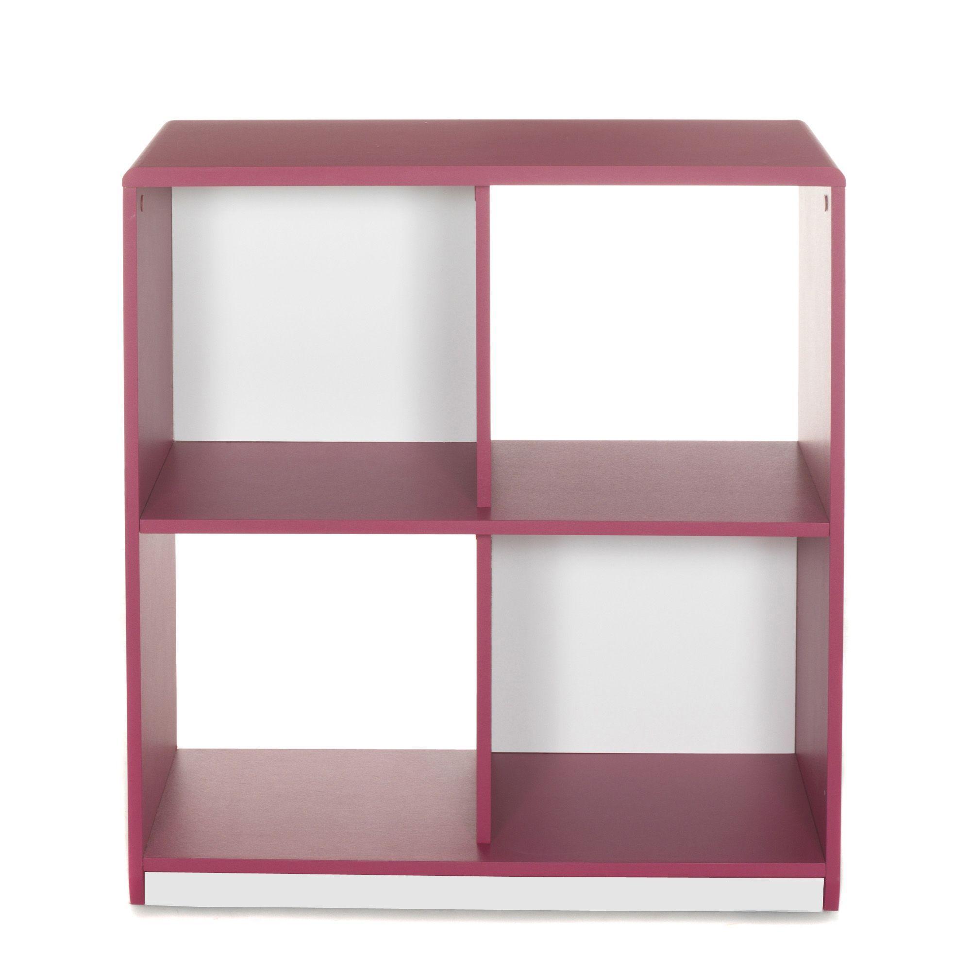 Meuble De Rangement à 4 Cases / étagère Framboise Réversible Blanc   Cool    Les étagères