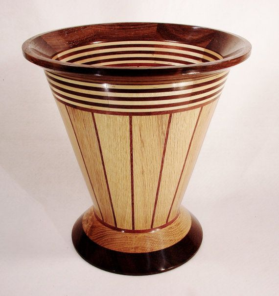 Large Segmented Lathe Turned Wood Vase By Designsinwoodturning See