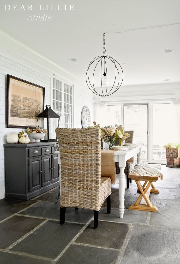Paint Faux Slate Floor With Wide Gout Lines Autumn Sunroom At Bluestone Hill Dining Room Inspiration Dining Room Design White Dining Table #slate #floors #in #living #room