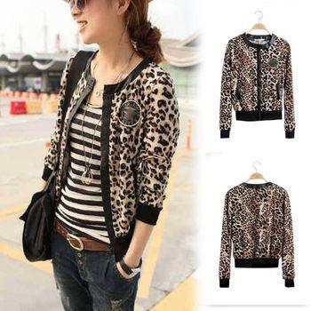novo selvagem leopardo moda longo- mangas costura em couro emblemas curto parágrafo dois bolsos slim casaco cardigan casaco gwf-6589