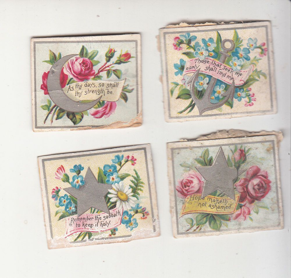 4 Mini Floral W Silver Star Moon Anchor Religious Sayings Victorian