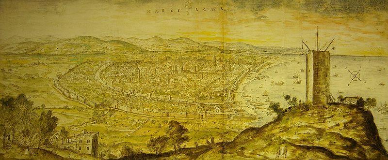 1563 - Barcelona  vista des de l'atalaia de Montjuïc. Encara les muralles eren medievals sens Baluards defensius ni el cim de la muntanya era fortificat.