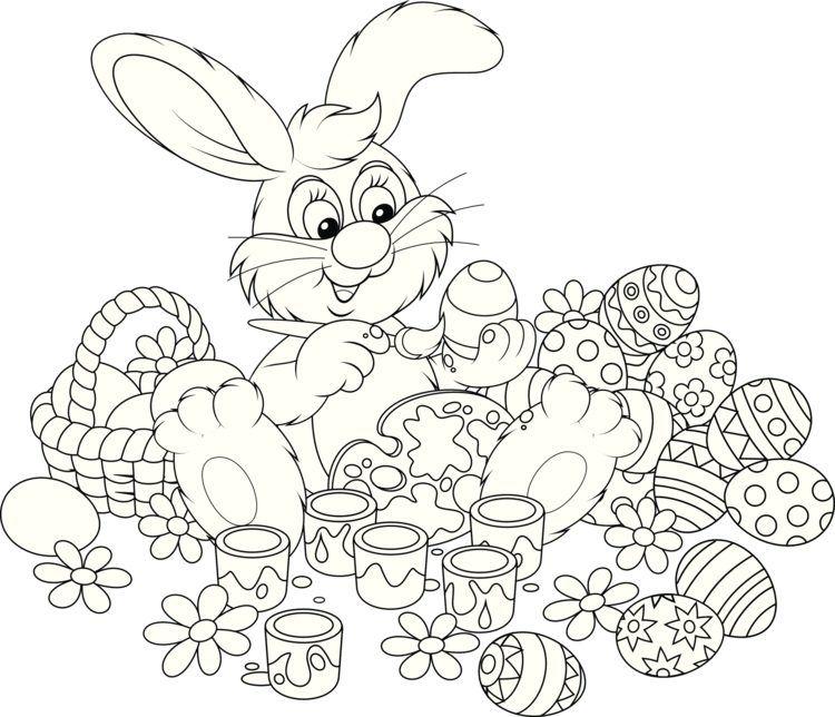 Ausmalbilder kostenlos ausdrucken - Ein Osterhase, der die Eier ...