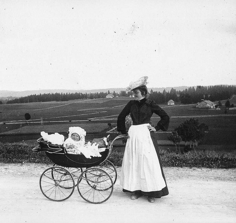 1910. A pram ride in the French countryside.