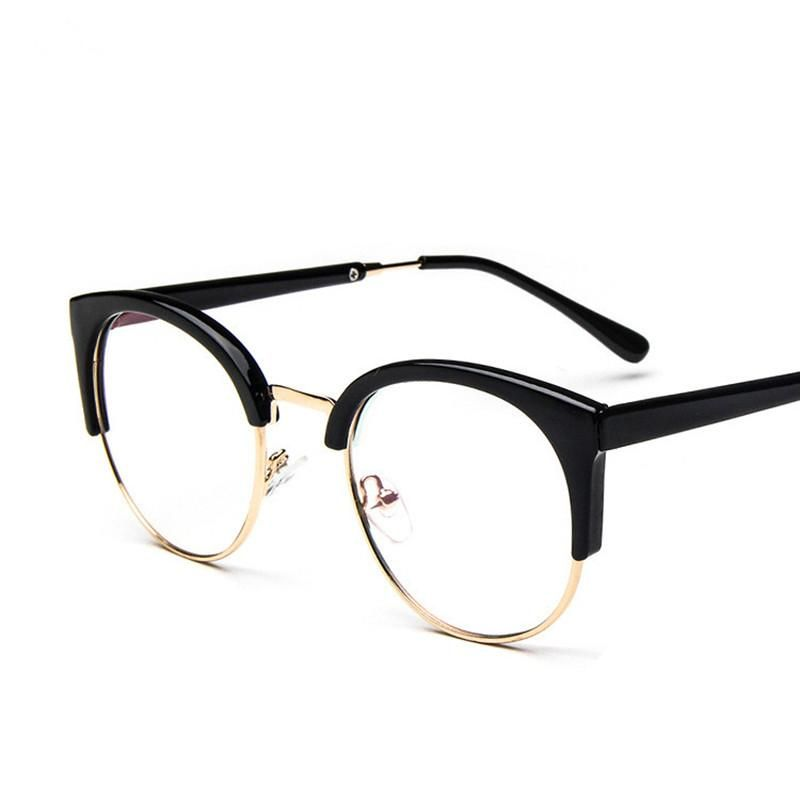 Fashion cat half frame glasses frame and a metal side retro mirror ...