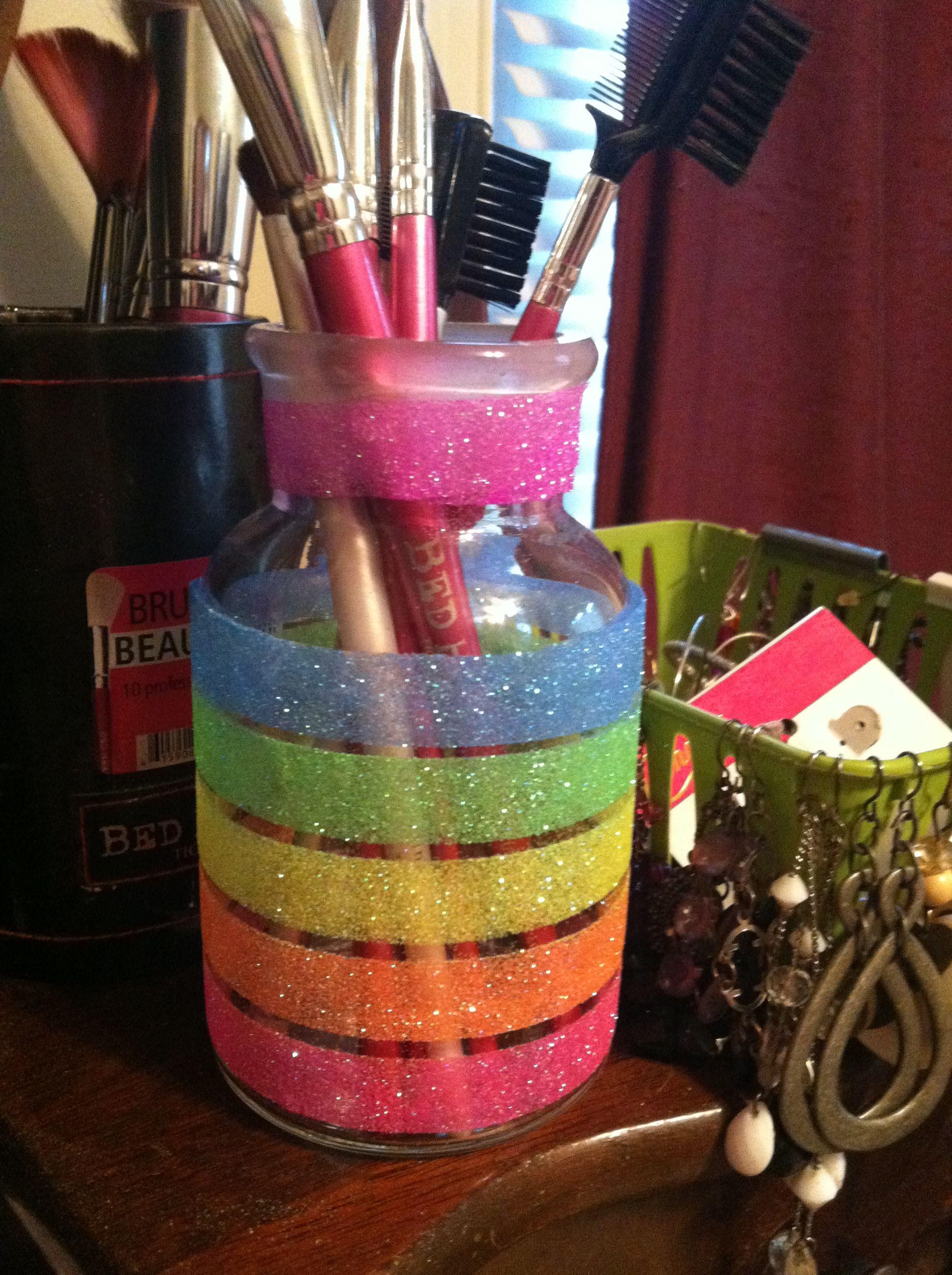 rainbow glitter brushes? Makeup brush case, Cute makeup