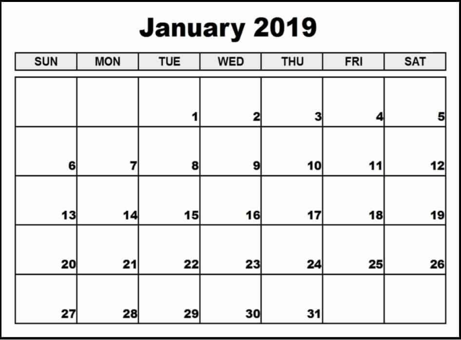 January 2019 Calendar A4 Printable Editable Calendar Calendar