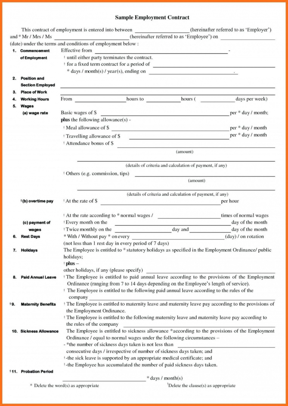 Free 020 Employment Agreement Template Contract Of Example Contracts Casual Labour Contract Template An Nanny Contract Template Contract Jobs Contract Template