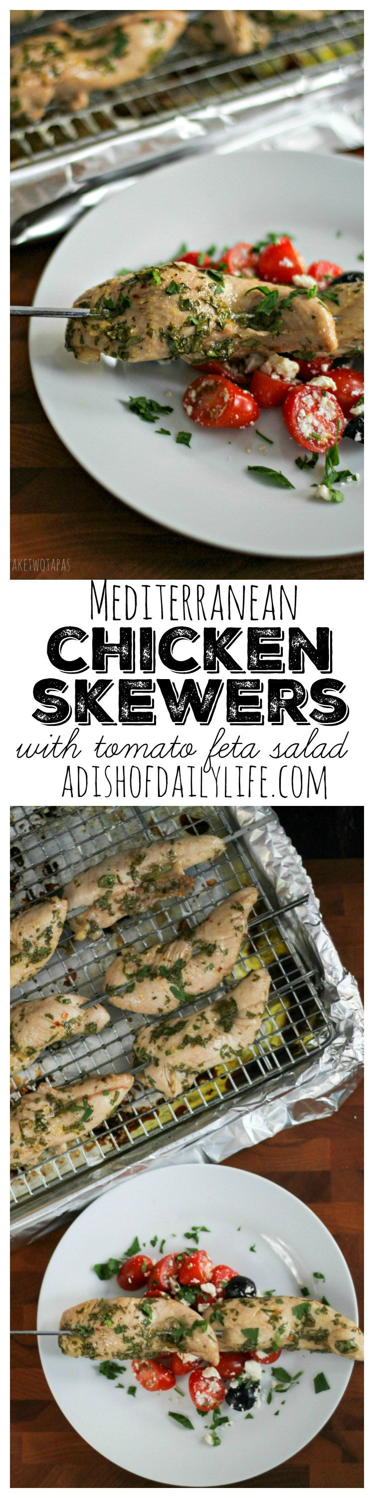 Juicy chicken marinated in a tangy, red wine vinaigrette, and served on a stick. Everything about that says fun. My kids love fun! Mediterranean Chicken Skewers Recipe | Take Two Tapas