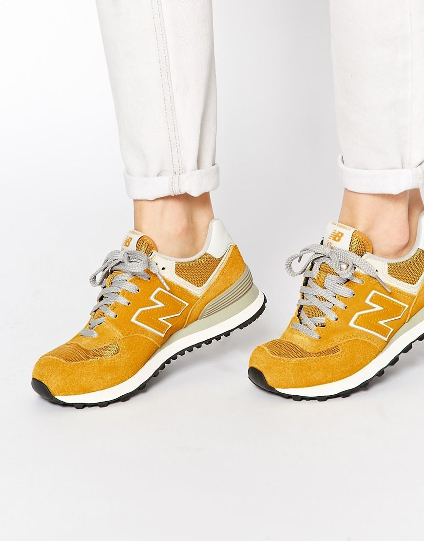 New Balance 574 Yellow Suede Mesh Trainers   clothes boots bags ... 9d2e36d6936