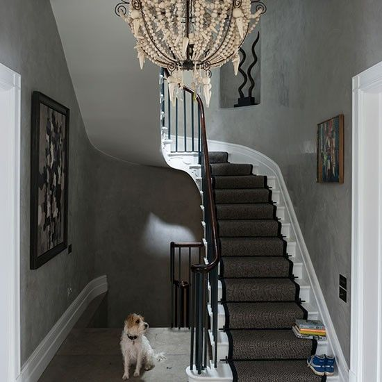 Grey eclectic hallway with chandelier decorating ideal home