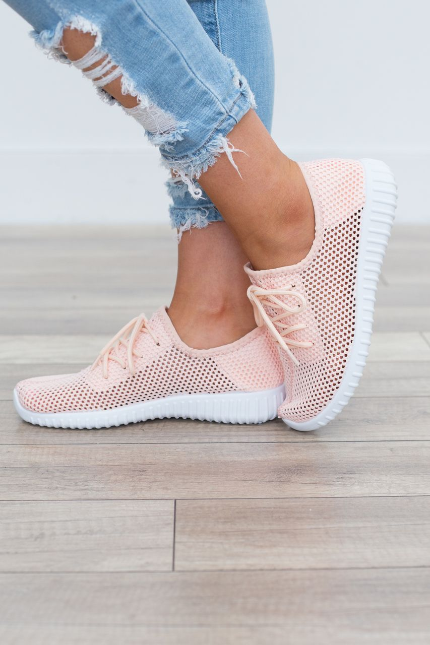 Style alert! Mesh knit sneakers with lace up closure and rubber sole. Great to wear on the go or style with your casual outfits. Man made materials. Runs true to size. Sizes 5.5-10. Style #SRECKLESS-0