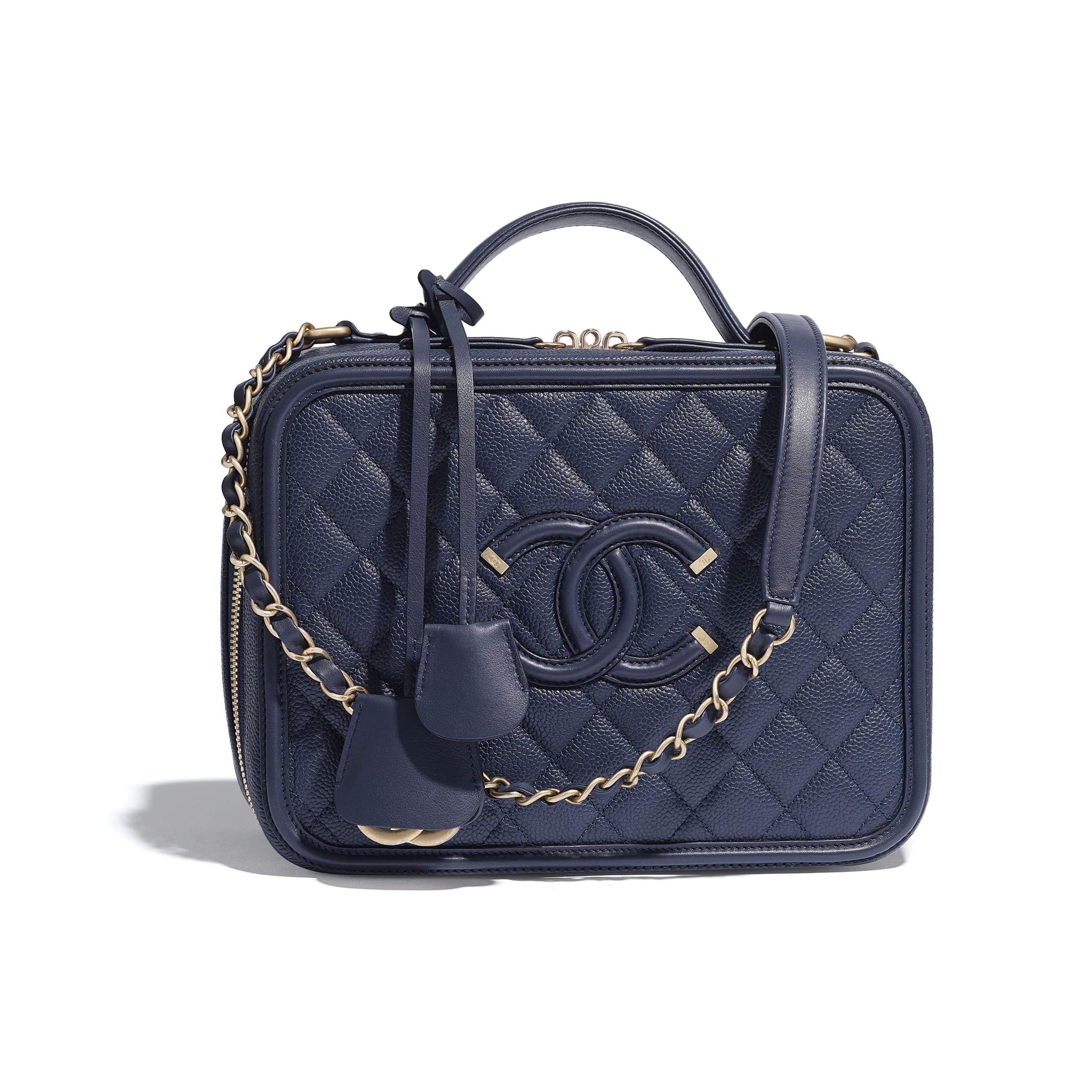 3c6fb4f0c89f Large Vanity Case - Navy Blue - Grained Calfskin, Smooth Calfskin &  Gold-Tone Metal - Default view - see standard sized version