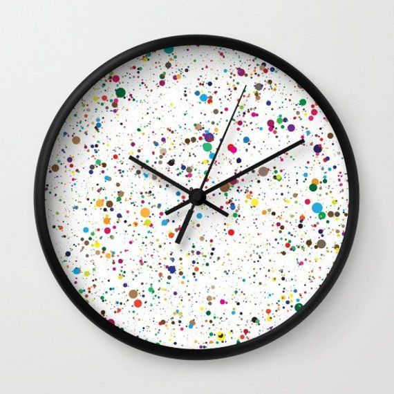 Artistic Wall Clock Splatter Paint Clock Colorful Office Decor Clock Art Gifts Art Teacher Gifts Ret Clock Painting Diy Clock Wall Colorful Office Decor