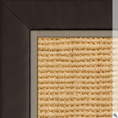 Coir Panama Bleached Rug Border Leather Espresso Piping Cotton Stone