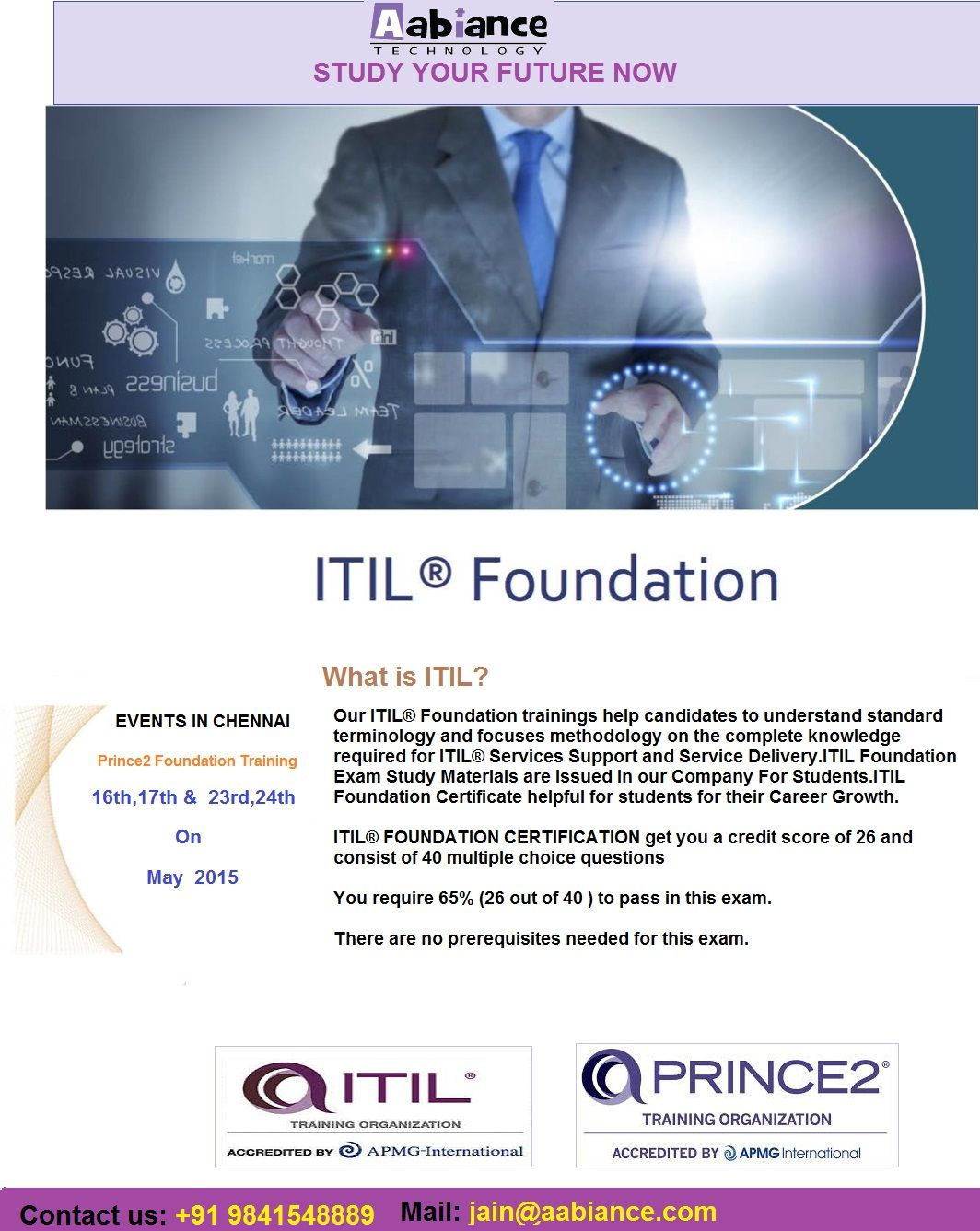 Our Company Give Coaching For Prince2 Foundation In Chennai Itil