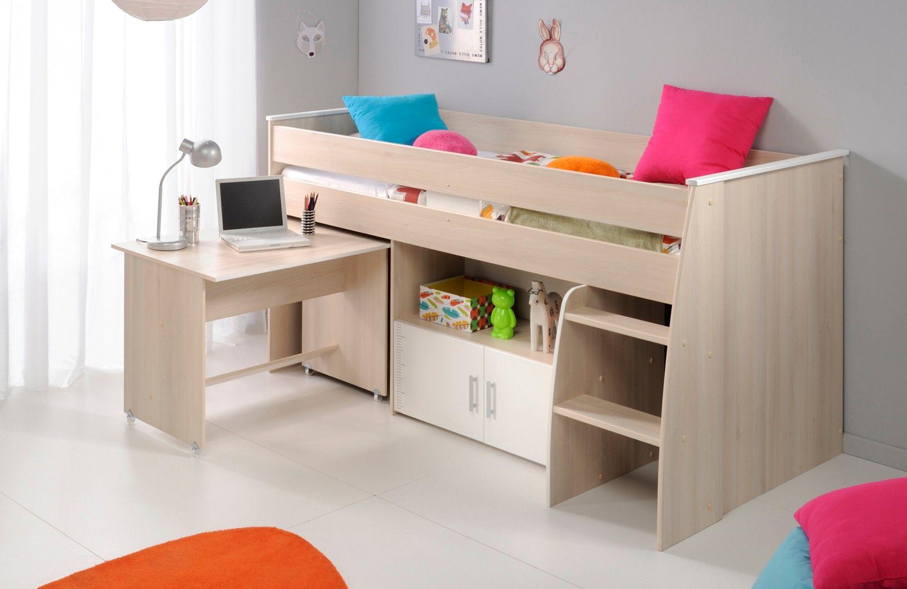 Lit combiné enfant en bois blanc et acacia marcus lit 90x200