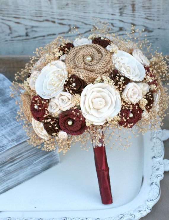 Rustic Babys Breath - Maroon Wedding Bouquet // Dark Red Bridal Bouquet, Burlap Bouquet, Sola Flowers, Winter, Christmas Wedding Flowers