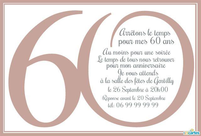 Favori invitation-60-ans | Déco anniversaire | Pinterest RP14