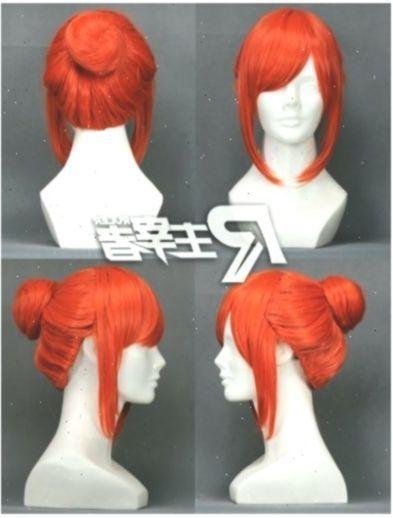 Photo of Details about Gintama Kagura Pumpkin Orange Anime Bun Short Costume Cosplay Wig …