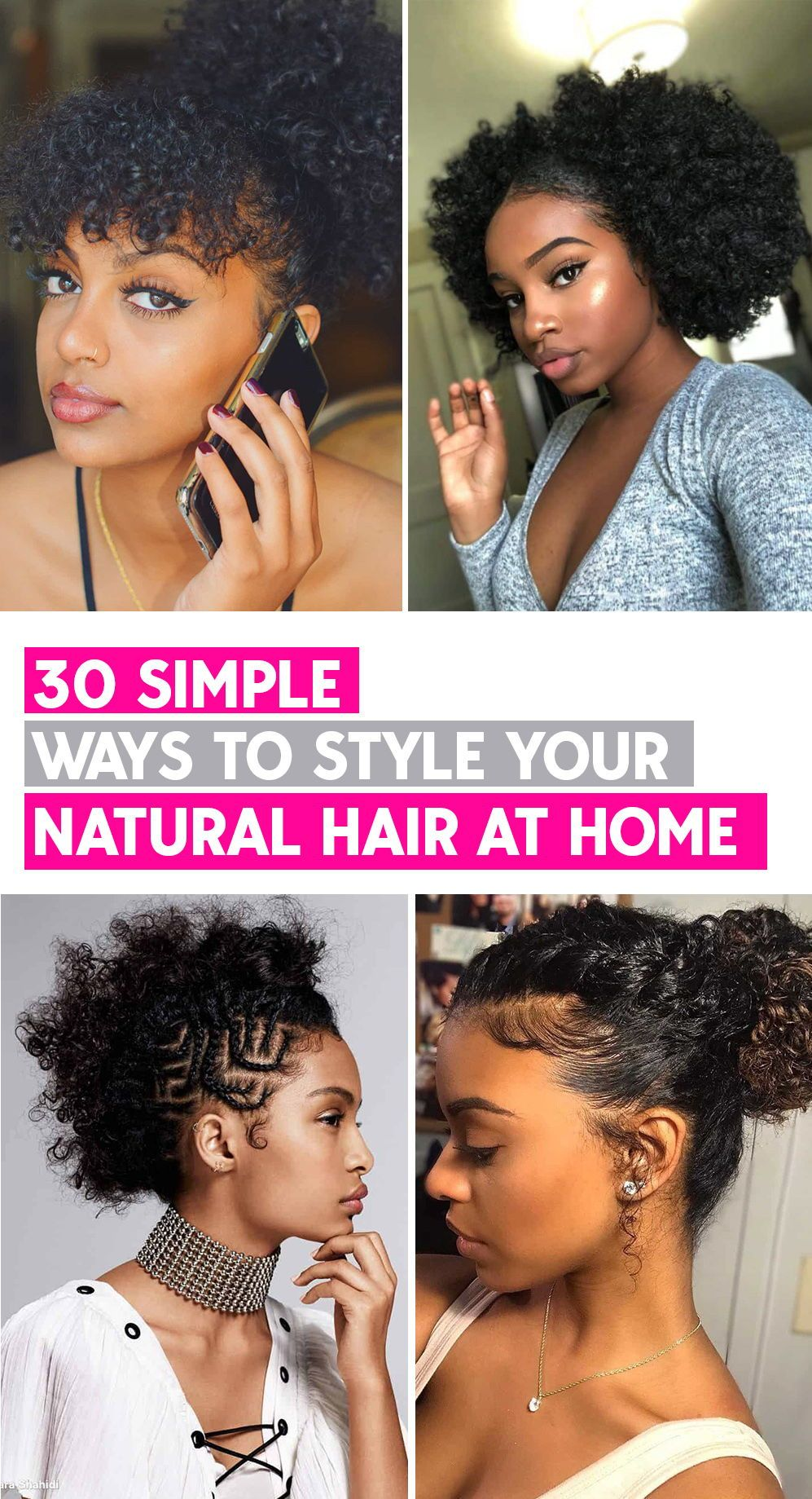 40 Different Ways To Style Your Natural Hair At Home Thrivenaija In 2020 Natural Hair Styles Natural Hair Bun Styles Bun Hairstyles For Long Hair