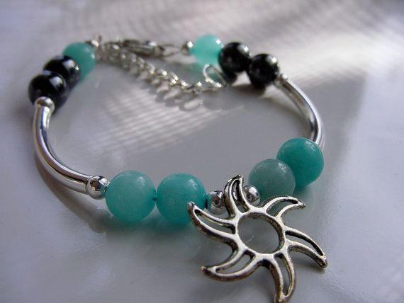 Universal Love Amazonite and Hematite Stone Bracelet with Moon Charm by CherylsHealingGems, $29.00. Free U.S. shipping.