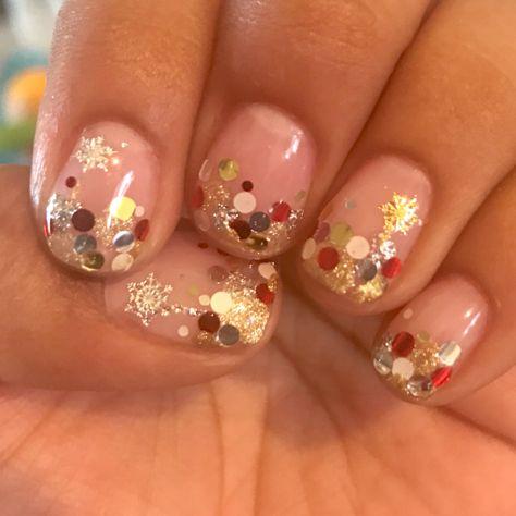 Clear Nail Design Holiday Polka Dot Glitter Nails Nail