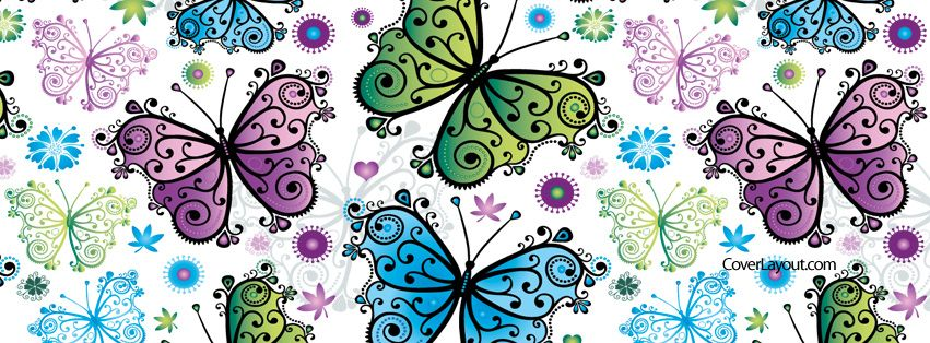 Colorful Purple Blue Green Butterflies Easter Facebook Cover CoverLayout.com