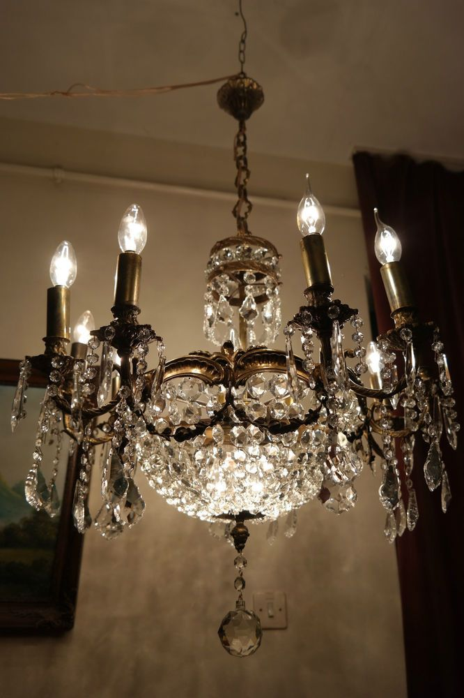 Antique extra large 12 arms crystal chandelier lamp light luster antique extra large 12 arms crystal chandelier lamp light luster 1930s 28 in french mozeypictures Images