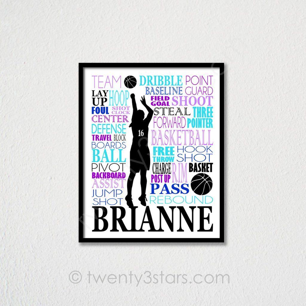 Girl S Basketball Typography Wall Art Choose Any Colors