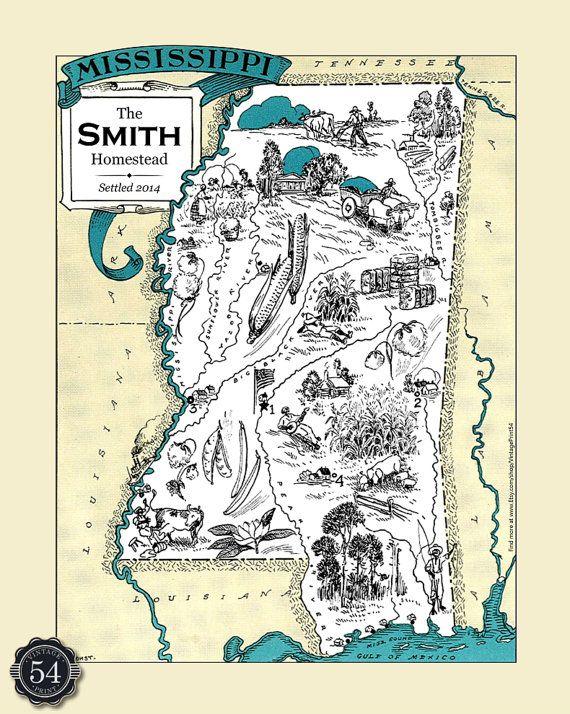 Mississippi MS Vintage Map Custom Map Art Print Map Retro