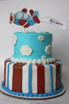 Airplane Baby Shower Cakes Airplane themed Baby Shower showers