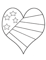 American Flag Heart Coloring Pages Billy gorilly stars and ...