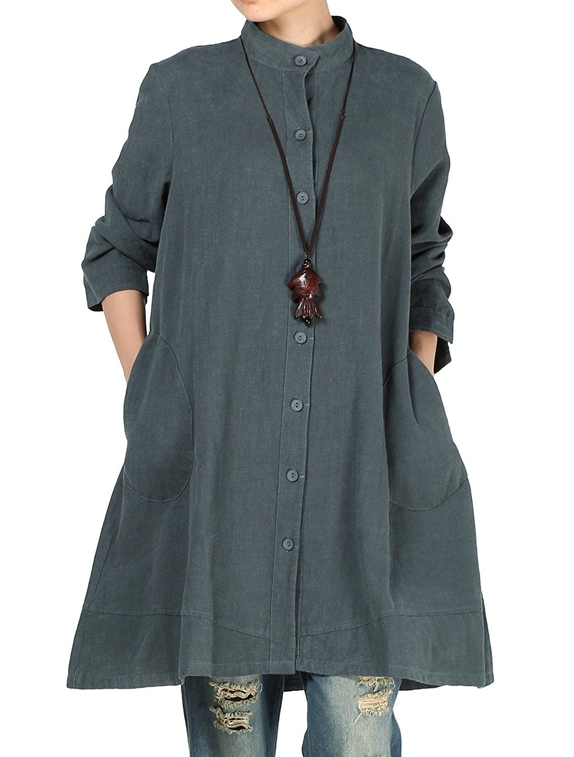 Mordenmiss Women's Cotton Linen Full Front Buttons Jacket Outfit with Pockets *** This is an Amazon Affiliate link. For more information, visit image link.