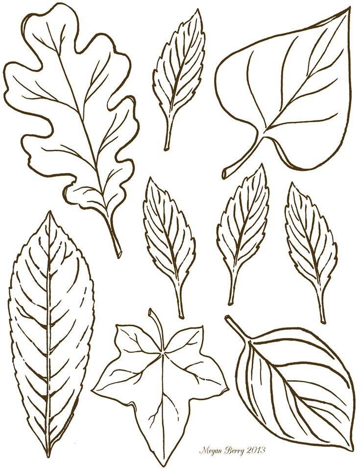 Autumn leaves free printables clip art riscos - Leaves paintings and drawings ...