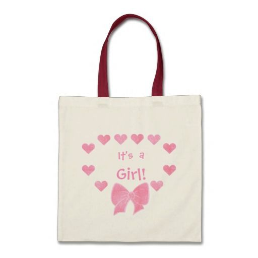 Pink Hearts and Bow Its a Girl Tote Bag