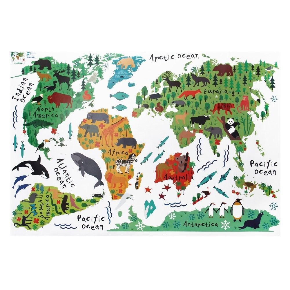 colorful animal world map wall stickers living room home decorations pvc decal mural art diy office