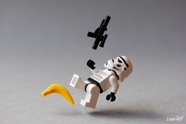 'Aaaaaaaaargh', ! Storm Trooper Down! Damn you banana! Star Wars Art.