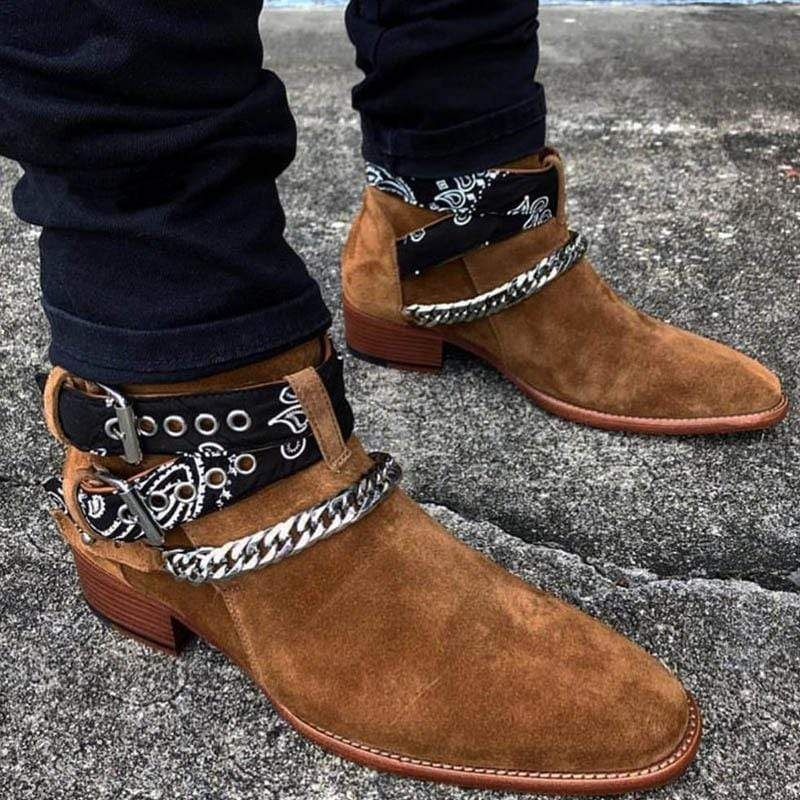 Men's Buckle Strap Suede Casual Boots